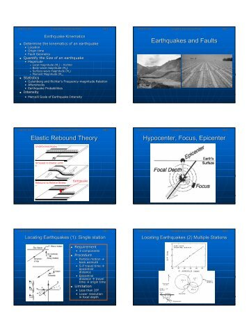 Earthquakes and Faults Elastic Rebound Theory Hypocenter, Focus ...