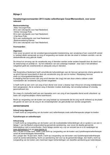 Bijlage 2 Verzekeringsvoorwaarden 2013