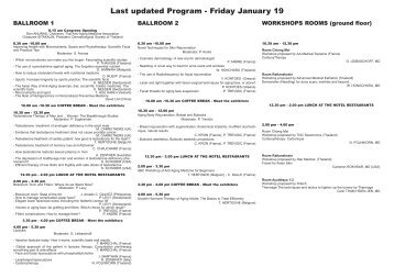 Last updated Program - Friday January 19 - EuroMediCom