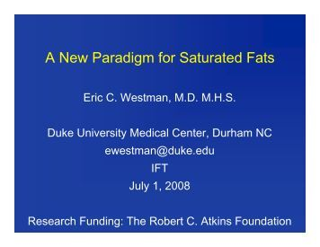 A New Paradigm for Saturated Fats - Nutrition and Metabolism Society