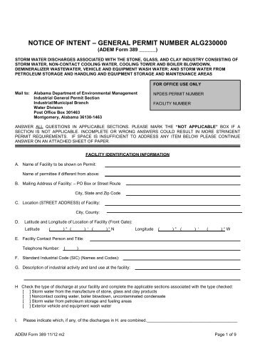 General Permit Application Package - NOI-23 - Alabama ...