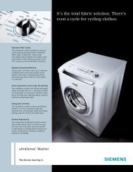 It's the total fabric solution. There's even a cycle for ... - Siemens Home