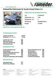 Einbauhilfe Elektrosatz für Suzuki Grand Vitara 2.4