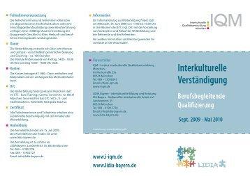 Interkulturelle Verständigung - Lidia Bayern