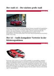 Der Audi A1 – Der nächste große Audi PREVIEW: Der ... - A1talk.de