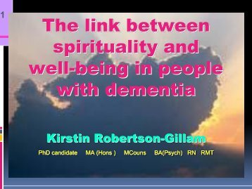 The link between spirituality and well-being in people with dementia ...