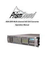Prism Sound ADA-8XR Operation Manual - Test and Measurement ...