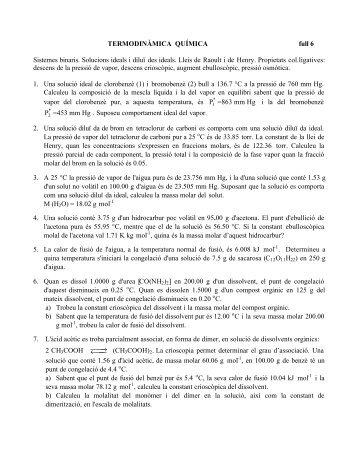 TERMODINÀMICA QUÍMICA full 6 Sistemes binaris. Solucions ...