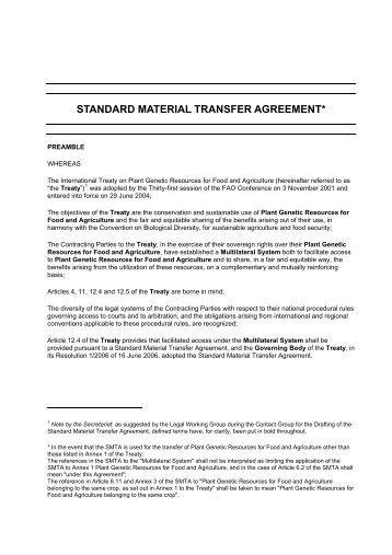 standard material transfer agreement - International Livestock ...