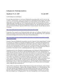 Kollegium der Medizinjournalisten Rundbrief Nr. 8 / 2007 04. Juli 2007