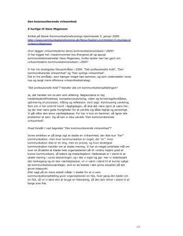 Den kommunikerende virksomhed 5 hurtige til Hans Mogensen ...