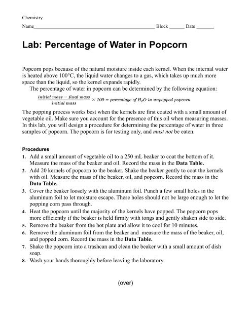 Lab Percentage Of Water In Popcorn