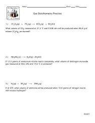 WS's Gas Stoichiometry
