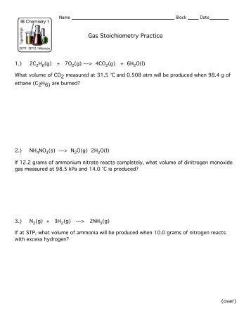 stoichiometry worksheet ii. Black Bedroom Furniture Sets. Home Design Ideas