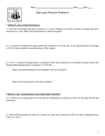 Ideal Gas Law Practice Worksheet