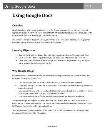 Using Google Docs - North Carolina State University