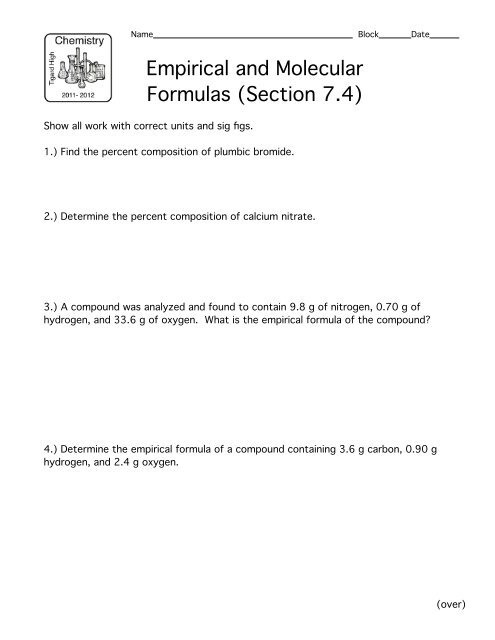 Worksheet: Empirical and Molecular Formulas