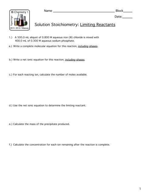 Worksheets: Limiting Reactants