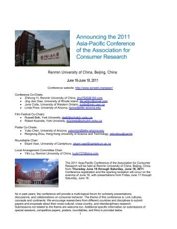 Association consumer research call papers