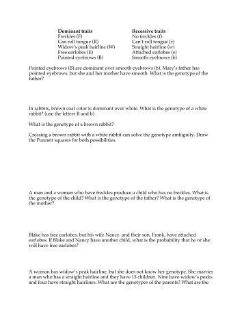 Printables Genetic Problems Worksheet 1 biology 9 genetics practice problems and extra fog ccsf edu worksheet de anza college
