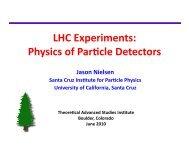 LHC Experiments: Physics of Par cle Detectors - University of ...