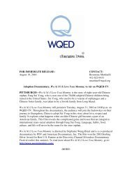 FOR IMMEDIATE RELEASE: CONTACT: August 19, 2010 ... - WQED
