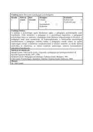 2007/08 1.fé tantárgyleírások II.évf - DE Pszichológiai Intézet