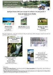 Zone de loisirs de la Praille - Office de Tourisme de la Haute Vallée ...