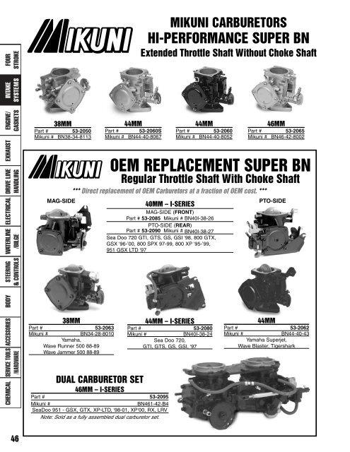 Mikuni BN34-44MM Carburetor Needle /& Seat VM26//26-1.5
