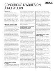 CONDITIONS D'ADHÉSION À RCI WEEKS - RCI.com