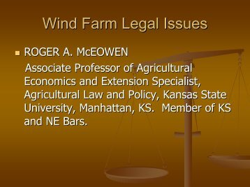 Wind Farm Legal Issues - Kansas Energy Council