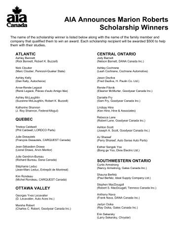 Press Release AIA Awards Arthur Paulin Scholarships to More ...