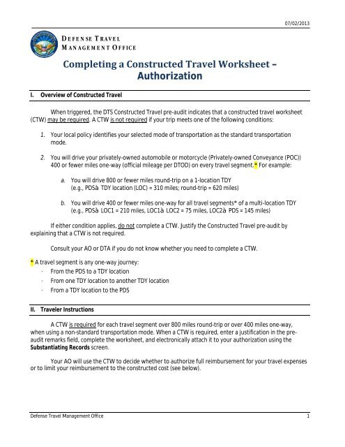 constructed travel worksheet instructions for authorization
