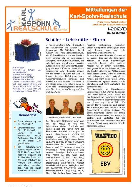 Schüler - Lehrkräfte - Eltern - Karl-Spohn-Realschule