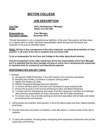 Job Description And Person Specification - Eteach