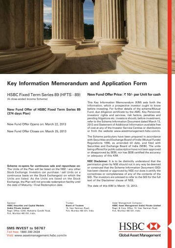 Key Information Memorandum and Application Form - Rrfinance.com