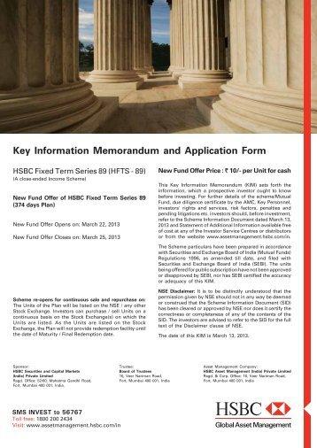 Key Information Memorandum and Application Form - Rrfinance.com