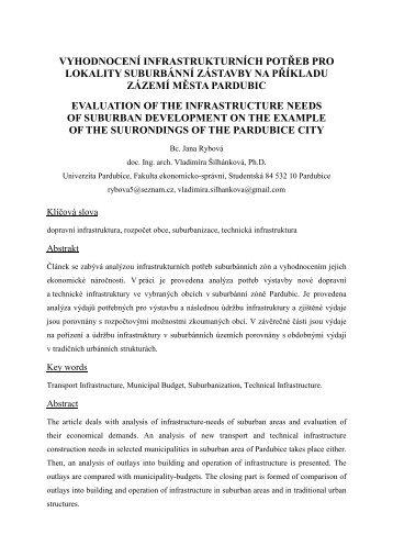 vyhodnocení infrastrukturních potřeb pro lokality suburbánní ...
