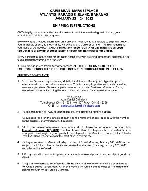 SHIPPING INSTRUCTIONS - Caribbean Hotel & Tourism Association