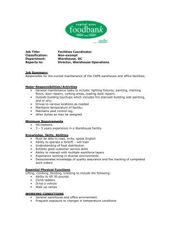 Facilities coordinator job description company with facilities job performance facilities coordinator job description pronofoot35fo Choice Image