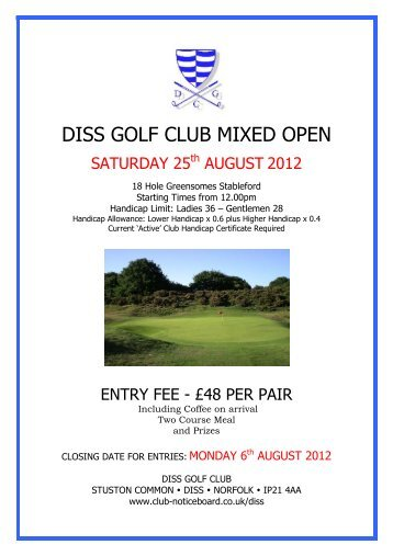 DISS GOLF CLUB MIXED OPEN - Club Noticeboard