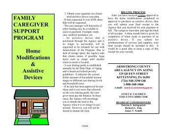 FCSP Home Modifications and Assistive Devices - Armstrong County