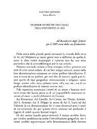 Donato M., Vicende storiche dei Casali dell'Università di Aci