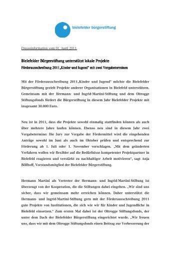 01.04.2011 - Bielefelder Bürgerstiftung