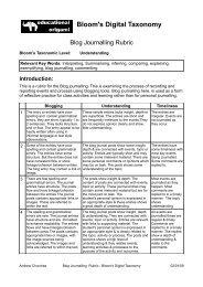 Blog Journalling Rubric - Bloom's Digital Taxonomy