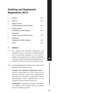 Clothing and Equipment Regulations 2013 - Ecb