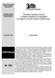 Nr 160. Wymiana towarów rolnych z krajami Wspólnot Europejskich ...