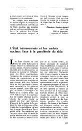 L'Etat camerounais et les cadets sociaux face à ... - Politique Africaine