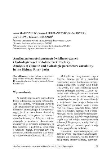 Analiza zmienności parametrów klimatycznych i hydrologicznych w ...