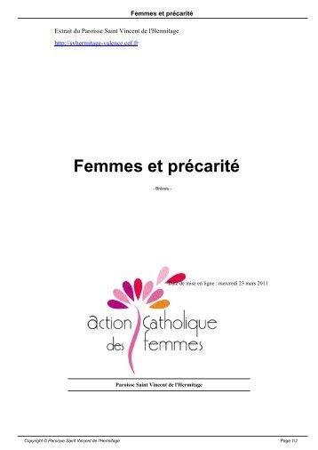 Femmes et précarité - Paroisse Saint Vincent de l'Hermitage